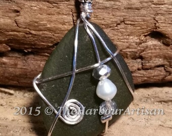 Olive Green Beach Glass Pendant