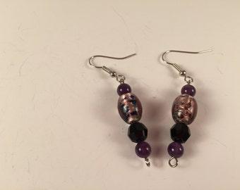 Purple and Black glass bead earrings