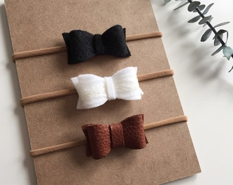 Trio of headbands for baby - loops in Merino Wool and recycled leather