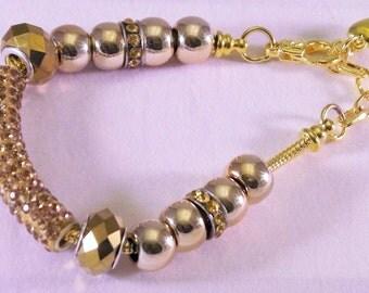Snake Chain Gold Tube Lampwork Bracelet 6 1/2 +/-