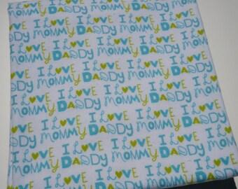 Baby Receiving Blanket, I Love Mommy, I Love Daddy, Baby Blanket, Blue and Green Blanket, Large Blanket, Swaddle Blanket, Flannel Blanket
