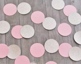 Paper Confetti, Table Confetti, Party Supplies, Pink and Silver, Glitter Confetti, Circle Paper Confetti, One Inch Circles, 100 Count