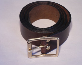 Leather Jean Belt with Solid Brass Rectangle Roller Buckle - Purchase the perfect fit by having it made to measure in the UK Waist Size
