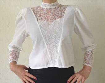 Vintage Blouse, White Blouse, Lace blouse, Chic lace blouse, Romantic Blouse, Victorian blouse, Romantic Lace Blouse,