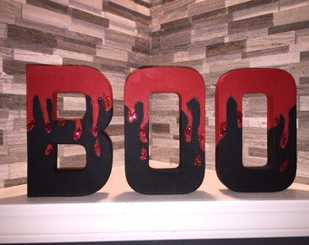 "Blood Drip Themed ""Boo"" Paper Mache Letters"