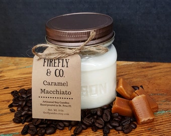 100% Pure Soy Caramel Macchiato Candles, in 4oz. Jelly Jars by Firefly & Co.