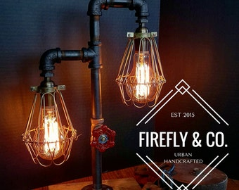 Double lighted Industrial Iron Pipe Lamp by Firefly & Co.