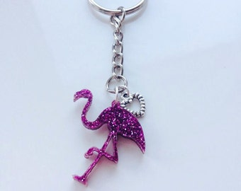 Pink Glitter Laser Cut Flamingo and Silver Heart Keyring