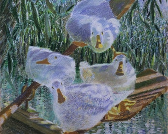 """Ducks greeting card, """"Oarsome Foursome"""""""