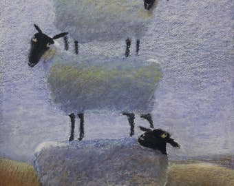 "Sheep tower print, A4 fine art giclee print of ""Backscratchers"""