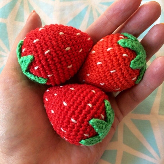 1 Pc Crochet Strawberry/ Teething Toy/ Play food for kids/