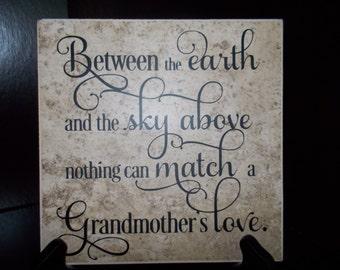 Grandmother Tile Saying in vinyl Love