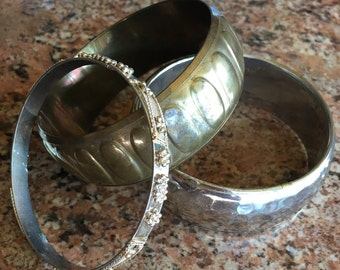 Set Of Three Bangles Indian Brass Gold Tone & Silver Tone