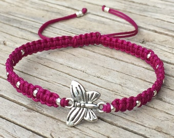 Butterfly Bracelet, Butterfly Anklet, Adjustable Cord Macrame Friendship Bracelet, Butterfly Jewelry, Gift for Her, Macrame Jewelry, Gift