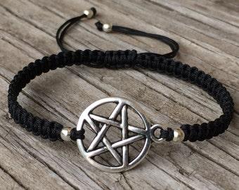 Pentagram Bracelet, Pentagram Anklet, Adjustable Cord Macrame Friendship Bracelet, Wicca Bracelet, Pagan Bracelet, Pentacle Bracelet, Gift