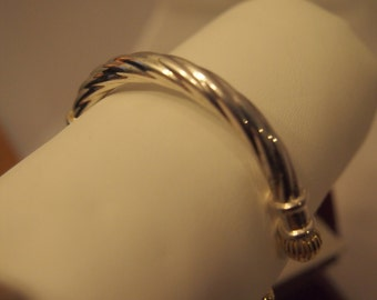 ON SALE-Sterling silver and 14kt gold open hinged bracelet-WAS 125