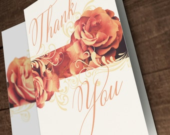 25+ A6 Vintage Floral Thank You Note Cards (TY03)