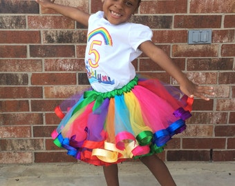 Rainbow/Splash themed birthday ribbon tutu set, custom ribbon tutu set