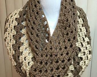 Crochet Cowl, Crochet Scarf, Granny Stitch Cowl, Cowl Scarf, Brown Scarf, Granny Stitch Scarf, Crocheted Scarf, Cowl, Scarf