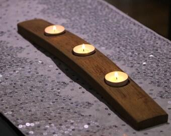 Reclaimed Oak Whisky Barrel Stave Tealight Holder (3 tealights)
