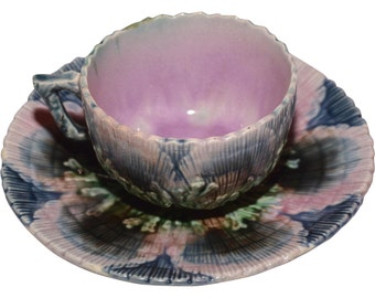 Majolica Etruscan Shell and Seaweed Tea Cup and Saucer ca. 1880's