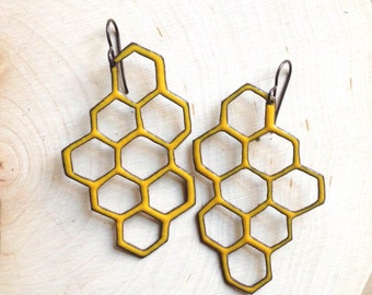 Goldenrod Enamel Honeycomb Earrings