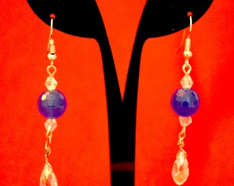 Sapphire & Crystal Drop Earrings