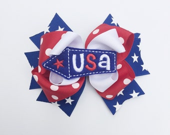 Memorial Day Baby, 4th of July Baby, USA hair bow, Fourth of July hair bow, Memorial Day hair bow