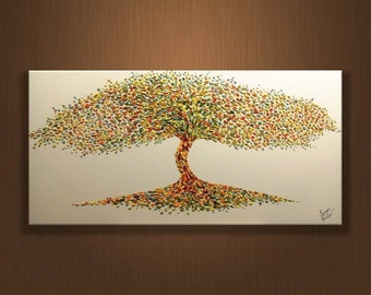 SALE 50% Tree Original oil painting on canvas, Luxury thick layers tree, Large painting, Gives extremely good vibes, by Sergei Kolesov