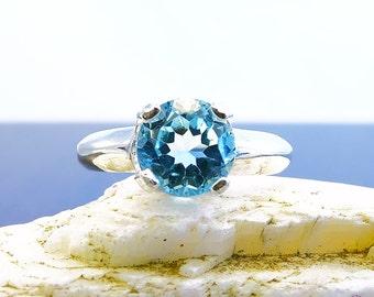 Sky blue topaz ring, ring topaz, sterling silver topaz ring, sky topaz ring, sky, ring size 7