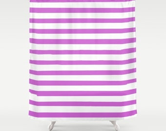 Purple Shower Curtain, Striped Shower Curtain, Fabric Shower Curtain, Preppy Decor, Kids Shower Curtain, Girls Shower Curtain, Teen Decor