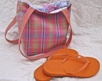 Recycled Orange and Pink Beach Tote Bag, medium, fully lined with two interior pockets