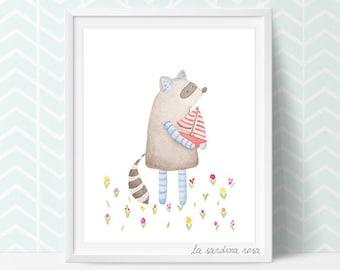 Raccoon print, Woodland room decor, Raccoon nursery art illustration, Woodland theme nursery wall art, Baby Raccoon watercolor, Animal Art