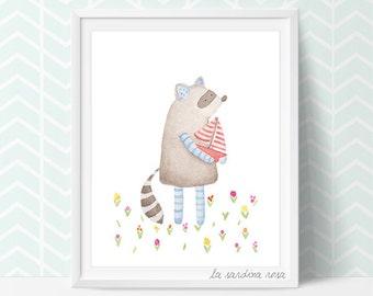Raccoon Print, Woodland Room Decor, Raccoon Nursery Art Illustration,  Woodland Theme Nursery Wall