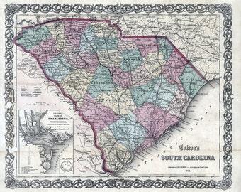 1865 Map of South Carolina