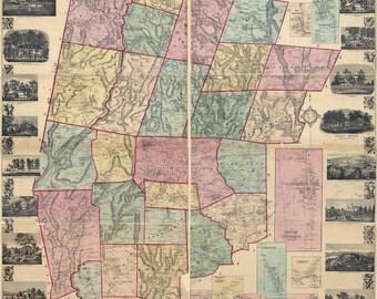 1859 Map of Litchfield County Connecticut 8 x 10