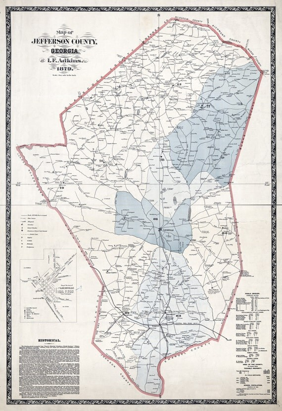 1879 Map Of Jefferson County Georgia Louisville Reproduction