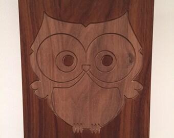 carved walnut owl