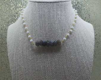 Grey With Moonstone Barr Necklace