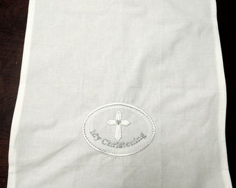 Baptismal Christening towel with Silver writing