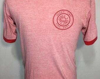 80's heather red ringer t shirt 50/50 blend