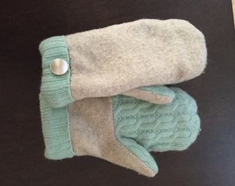 Recycled Wool Mittens Mint