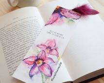 Bookmarks-lilies flower-flower illustration-elegance-femininity-printed watercolor-Original gift woman children - birthday - Mothers Day