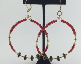 Red and Gold Hoop Earrings