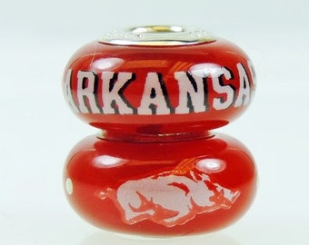 Arkansas Razorbacks Glass Bead Fits European Style Bracelets