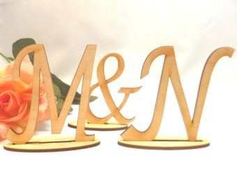 wooden wedding letters according to your choice, 80 mm high for wall decoration, name plates