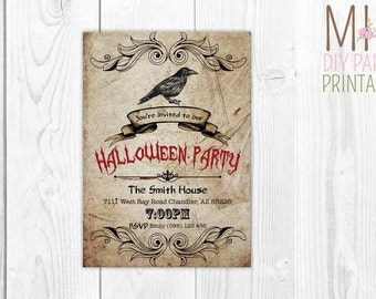 Vintage adult Halloween Invitation_3,Halloween Party Invitation, Halloween Invite, Halloween Invitation, Costume Party,halloween bash