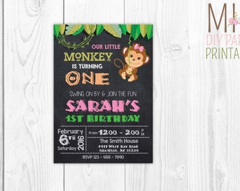 Little Monkey Girl Invitation,Monkey Birthday Invitation, Monkey Invitations, Jungle Birthday Invitation, Safari Invitation