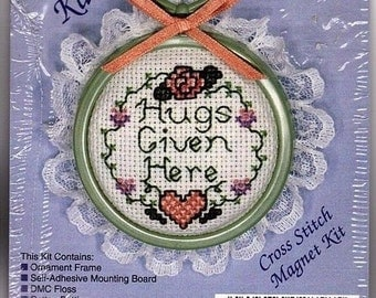 "Kitchen Katcher ""Hugs Given Here"" Cross Stitch Magnet Kit by the New Berlin Co.  #2858~ New Unopened"