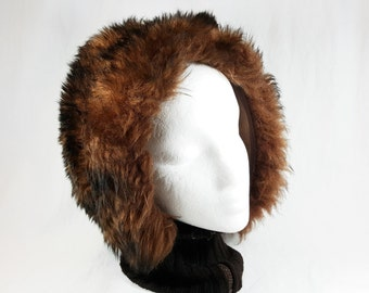 Vintage 1960's Brown Natural Lamb Fur Hat And Neck Warmer Made In Italy, Skiing Cold Weather Wear Russian Style